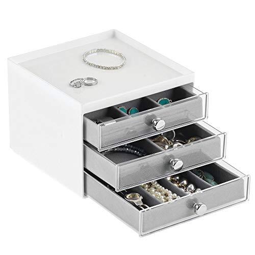 mDesign Organizador de joyas – Joyero organizador con tres cajones para pendientes, collares, anillos y pulseras – Cajas para joyería pequeñas de plástico – blanco/gris