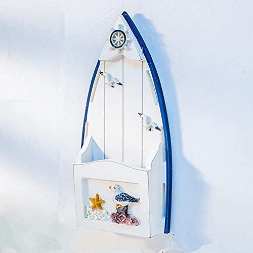 Vintage Decor Yard Zeichen Persönlichkeit massivem Kiefernholz Schlüsselkasten, mediterranen Stil Segelboot Form Briefkasten, kreative Holz Stifthalter Aufbewahrungsbox ( Color :