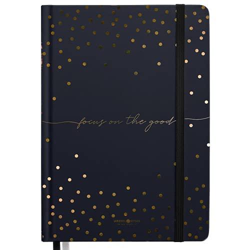 "Bullet Journal QUOTE ""GOLDREGEN"" Lebenskompass® - Notizbuch A5 Extradickes Papier, Dotted 5 mm, Gummiband, 120 g/m² FSC® Papier - Bujo Buch & Tagebuch"