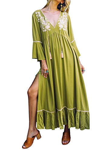 R.Vivimos Women's Autumn 3/4 Sleeves V Neck Embroidered Ruffles Midi Dress (Small, Green)