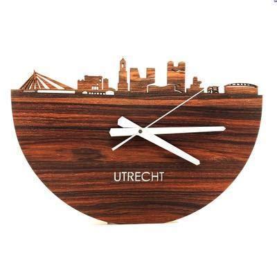 Skyline Klok Utrecht Notenhout - Ø 40 cm - Woondecoratie - Wand decoratie woonkamer