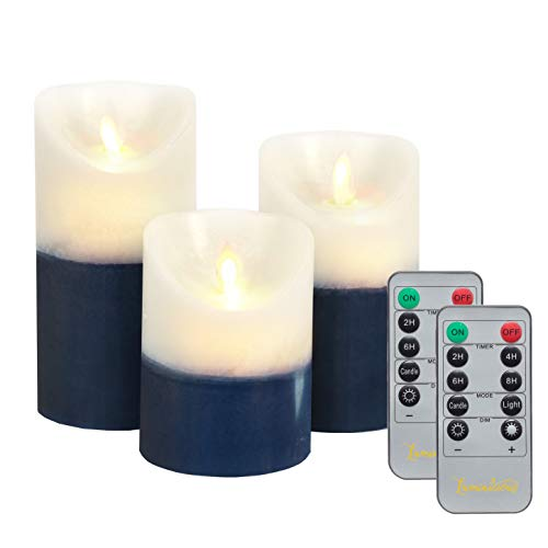 Flameless Candles Flickering LED | Battery Operated Electric Pillar Candle | Realistic Moving Flame Flicker with Remote Control & Timer | Real Wax Dark Blue & White | Great Home Decor Decorative Gift