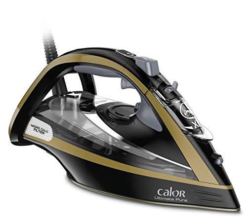 Calor Fer A Repasser Ultimate Pure Effet Pressing jusqu'à 260 g/min Noir FV9839C0 FV9839C0-Plancha de vapor Efecto, 3000 W, 350 milliliters, Negro y dorado
