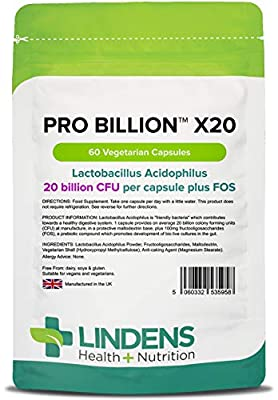 Lindens Pro Billion X20 20 Billion Cfu Ultra High Strength Capsules | 60 Pack | Ultra High Potency Lactobacillus Acidophilus Supporting Digestion