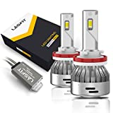 LASFIT H11/H8/H9 LED Light Bulbs Switchback LED Conversion Kits Fog Light Upgrade Version 60W 6000LM 3000K Amber/6000K White (pack 2)