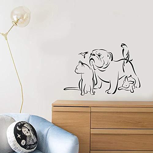 Calcomanía de pared para mascotas, salón de belleza, logotipo, Animal, perro, gato, loro, pájaro, conejo, vinilo, pegatina para ventana, tienda de mascotas, tapicería de guardería