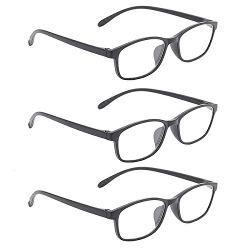 GOBOOMAN Unisex Blaulichtfilter Brille 3 Paar, Anti Blaulicht Lesebrille Computer Lesebrille für Damen Herren (+1.5 Dioptrien)