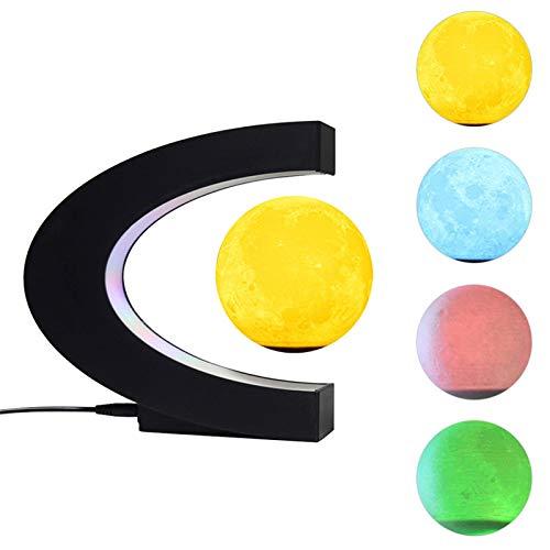 Mondlampe, Magnetschwebebahn 3D-Druck Mondlichtlampe, schwebende LED-Planetenlampe, Kreativität Schlafzimmer Nachttisch Nachtlicht, Home / Office Schreibtisch Dekoration Lampe