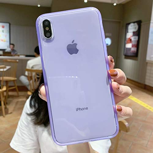 iPhone X Case Silicone,iPhone Xs Case,[Matte Shock-Absorption Bumper Edge] Silicone TPU Soft Gel Phone Cover for Apple iPhone X/Xs 5.8' (2018) - Clear Purple