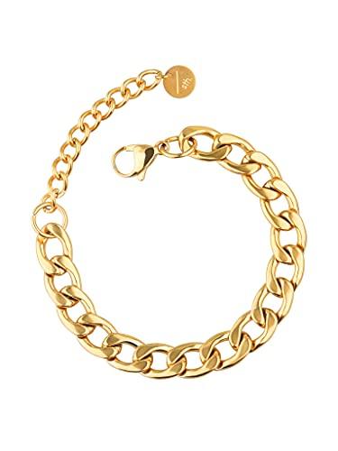a little something  Pulsera Stella para mujer con chapado en oro de 18 quilates (oro y oro rosa), incluye paquete de regalo sostenible (certificado FSC),