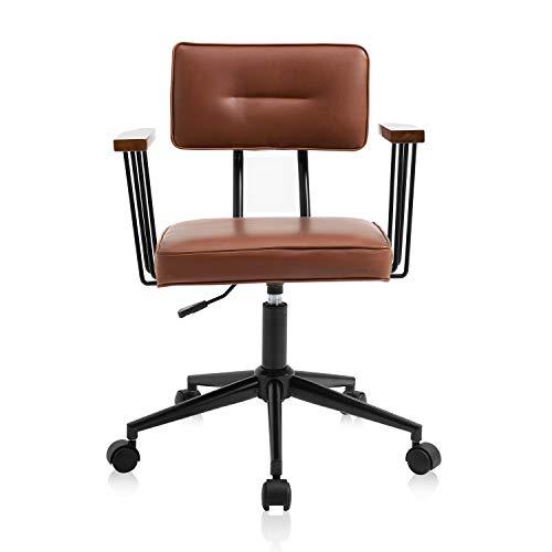 YAMASORO Bürostuhl Schreibtischstuhl Ergonomisch Höhenverstellbar Drehstuhl mit Rollen Rückenlehne Armlehne Chefsessel Leder Möbel Für Arbeitszimmer Computerstuhl Office Chair Braun
