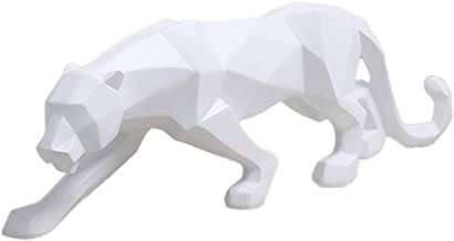 wyhweilong Panther النحة/التمثال الهندسي الحديث الراتنج ديكور ليوبارد للمنزل المكتبة نافذة متجر الكتب (أبيض صغير)