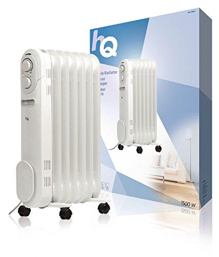 HQ HQ-OR07 Termosifone Portatile a Olio, 7 Elementi, 1500 W Bianco