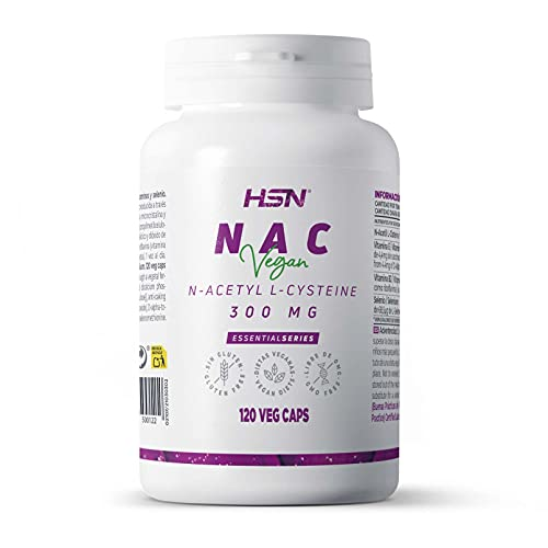 NAC de HSN | 300 mg | N-Acetil-L-Cisteína | Aumenta los Niveles de Glutatión + Alto Poder Antioxidante + Aumenta tus Defensas | No-GMO, Vegano, Sin Lactosa, Sin Gluten | 120 Cápsulas Vegetales