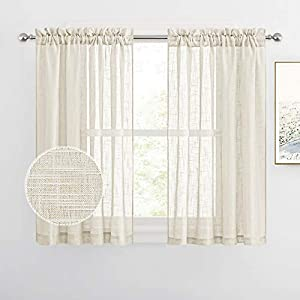 RYB HOME Sheer Curtains for Bedroom - Linen Textured Curtain Semi Sheer Drapes for Privacy Protect Light Filter for Kids Nursery Room, Warm Beige, Wide 52 inch x Long 45 inch per Panel, 1 Pair