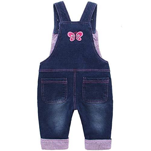 Baby Mädchen Denim Overall Jeans Hose mit Hosenträger Kinder Baumwolle Latzhose Kaninchen Butterfly – 100 - 2