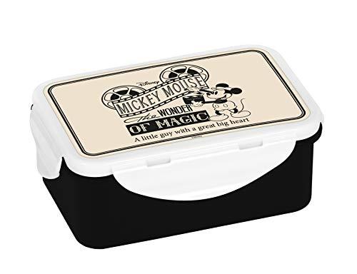 Disney Mickey Mouse Brotdose, Brotbox, Lunchbox, Lunch-Box, Kunststoff, Beige/Schwarz, 18x13x8cm