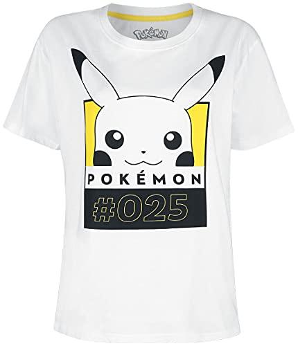 Pokemon #25 Pikachu Mujer Camiseta Blanco XL, 100% algodón, Regular