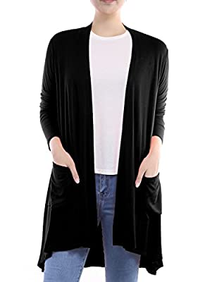 BIADANI Women Long Sleeve Classic Lightweight Front Pockets Cardigan Black Medium from