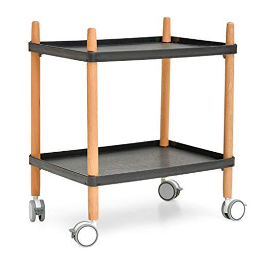 Tables basses Petite en Bois Massif Mini Table Salon Petite familiale Table d'appoint Mobile avec Rouleau (Color : Black, Size : 50 * 36 * 58cm)
