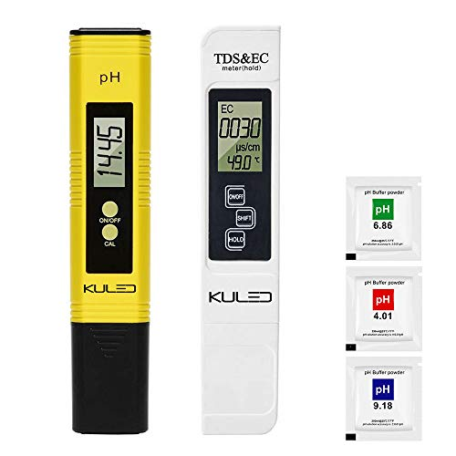 KULED PH Meter, TDS meter, Water Quality Test Meter, 3 in 1 High Accuracy Water Quality Tester, for Hydroponics, Aquariums, Drinking Water, RO System, Fishpond and Swimming Pool