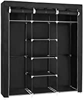 SONGMICS Fabric Wardrobe, Foldable Closet with Hanging Rail, Clothes Rack, Storage Organiser for Bags, Toys, Shoes,...