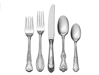 Wallace Hotel Lux 77-Piece 18/10 Stainless Steel Flatware Set Silver Service for 12 -