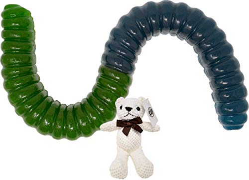 World's Largest Blue Raspberry and Green Apple Gummy Worm (Approximately 2.5 Pounds) with By The Cup Teddy Bear