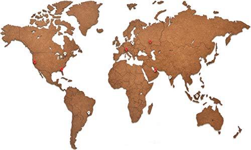MiMi Innovations - Decoración de Pared de Mapa del Mundo de Madera 90 x 54 cm - Marrón