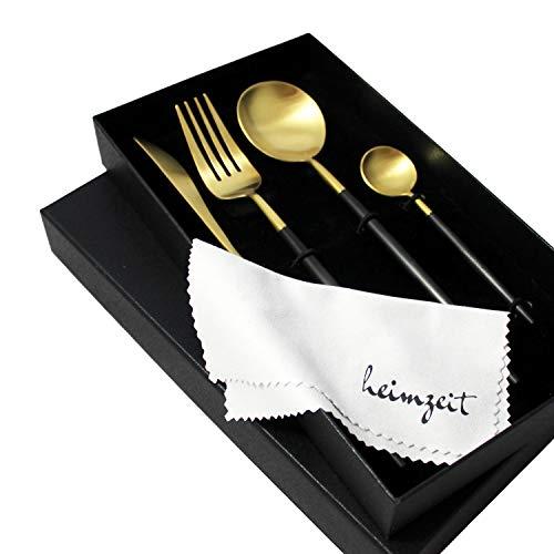 heimzeit Besteck Set aus hochwertigem Edelstahl 18/10 - Farbe: Schwarz-Gold - Stilvolles Design - 1 Person - 4-teilig (Messer, Gabel, Löffel, Teelöffel) - Goldenes Besteck ist spülmaschinengeeignet