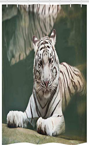 ABAKUHAUS Tijger Douchegordijn, White Tiger Zwemplezier, voor Douchecabine Stoffen Badkamer Decoratie Set met Ophangringen, 120 x 180 cm, teal White