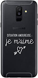 """ZOKKO Case for Samsung A6 Plus 2018 Case with""""Je m'aime"""" (""""I Love Me"""") Design - Transparent with White Ink"""
