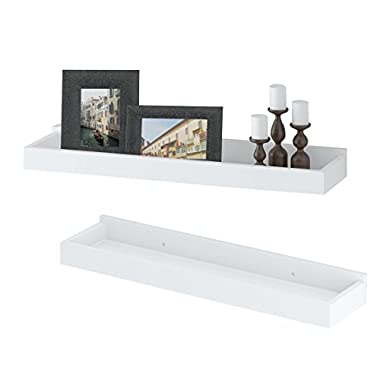 Wallniture Modern Floating Shelf Tray Wall Mount Home Decor White 23 Inch Set of 2