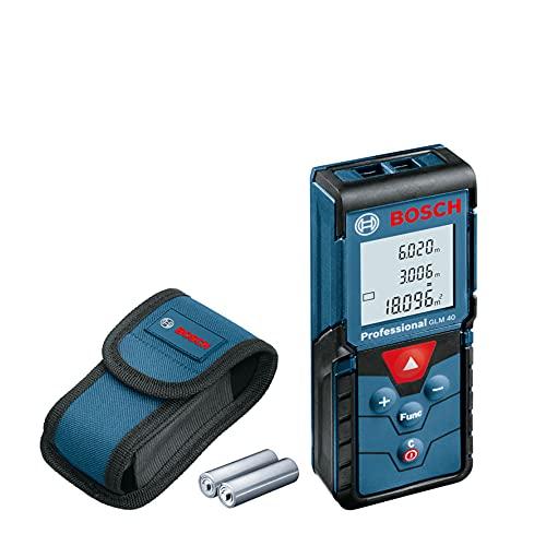 Bosch Professional télémètre laser GLM 40 (avec fonction mémoire, portée : 0,15 – 40 m ; contenu du carton : télémètre laser Bosch GLM 40, 2 piles 1,5 V, housse de protection)