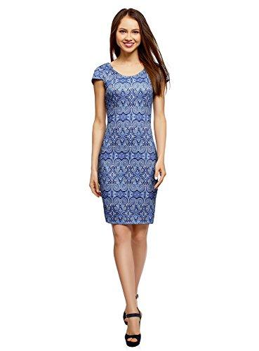 oodji Ultra Damen Enges Kleid mit Tiefem Rückenausschnitt, Blau, DE 38 / EU 40 / M