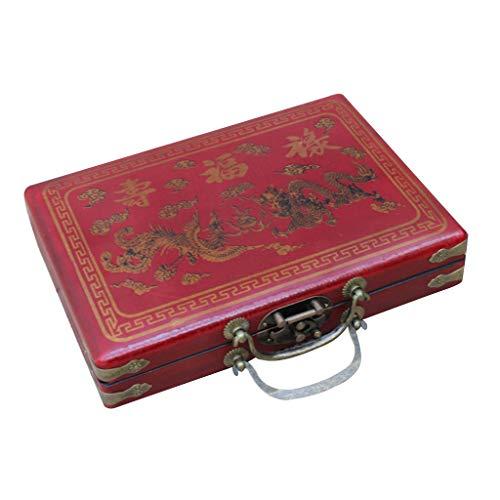 holilest Mini Mahjong, Juego de Juguete de Mini Mahjong Chino Vintage portátil con Maleta de Cuero sintético Antiguo
