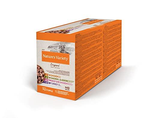 Nature's Variety Original No Grain - Multipack de patés para Gatos Adultos - 3 Multipacks de 12 x 70 g - Total 2,52 kg