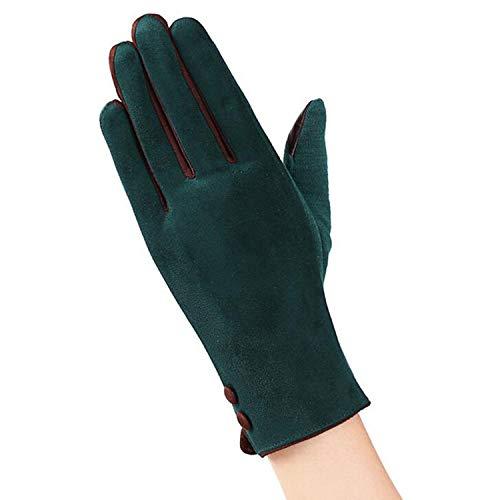 Small-shop-gloves Gants élégants en Dentelle pour Femme Écran Tactile en Cachemire Long Gants de Doigt complets Guantes 19A, Femme, A Green, Taille Unique