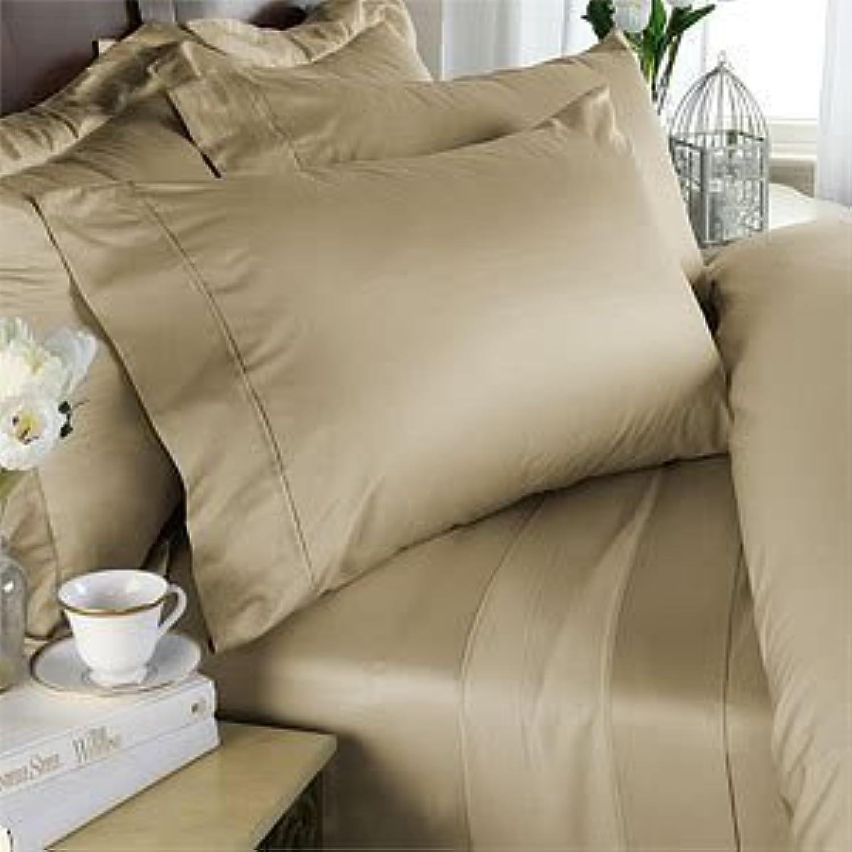 Super Doux 550-thread-count 45,7cm Parure de lit en coton égypcravaten Ultra profonde poche Euro Extra Petit simple, beige, solide, 550tc Parure de lit 100% coton