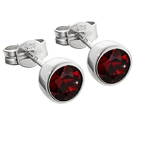 NKlaus silver pair of ear studs 925 sterling silver 5,50mm real garnet ladies men 6670
