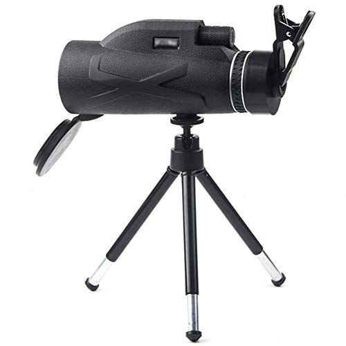 KKDWJ Monokulares Teleskop, 80x100 HD Nachtsicht-Monokularzoom Optisches Fernglas-Monokel mit Telefonadapter und Stativ zum Erkennen des Zielfernrohrs Jagen Wandern Angeln im Freien,Grau