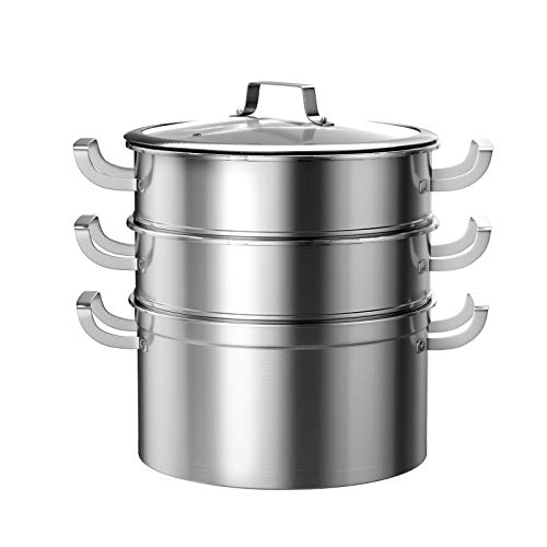 COSTWAY Stainless Steel Streamer Pot, 3 Tiers 26cm Large Induction Steamer Pans with Glass Lid, Home Kitchen Restaurant Professional Steamer Cooking