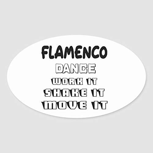 Flamenco Dance werk het, schudden, verplaatsen Ovale Sticker voor Envelop Laptop Koelkast Gitaar Auto Motorhelm Bagage Cases Decor 4 Inch in Breedte