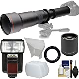 Vivitar 650-1300mm f/8-16 Telephoto Lens (Black) (T Mount) & 2X Teleconverter (=2600mm) + Flash + 2 Diffusers Kit for Nikon Digital SLR Camera