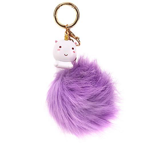 Smoko Elodie Einhorn Pom Pom Schlüsselanhänger, flauschige Kunstfell-Kugel & niedlicher Unisex-Anhänger im Kawaii japanischen Stil violett