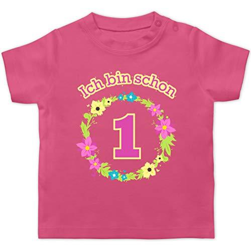 Geburtstag Baby - Ich Bin Schon 1 Blumenkranz - 12/18 Monate - Pink - erster Geburtstag mädchen - BZ02 - Baby T-Shirt Kurzarm