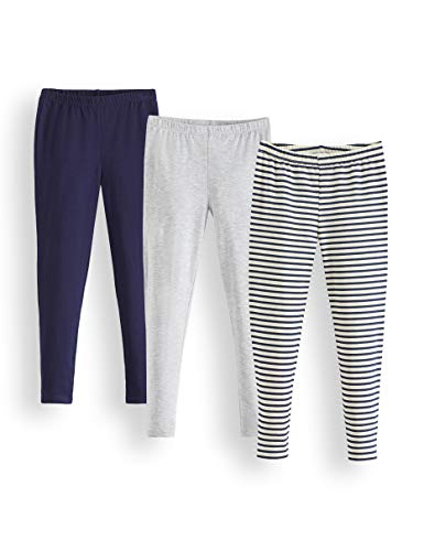 RED WAGON Legging Fille, Lot de 3, Multicolore (Navy Tripe, Grey And Navy), 104, Label:4 Years