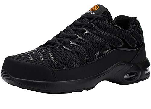 Fenlern Zapatillas de Seguridad Hombre Ligeras Zapatos de Seguridad Trabajo Punta de Acero Calzado de Seguridad con Colchón de Aire (Negro,43.5 EU)