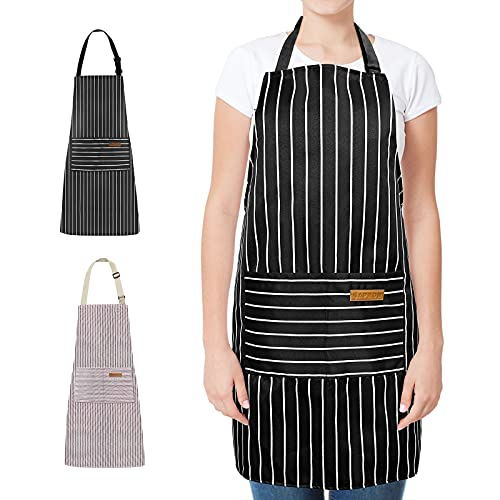 Kitchen Cooking Aprons for Women With Pockets [2 Pack], Cotton Waterproof Adjustable Bib Chef Apron for Men Gift (Black & White Stripe)