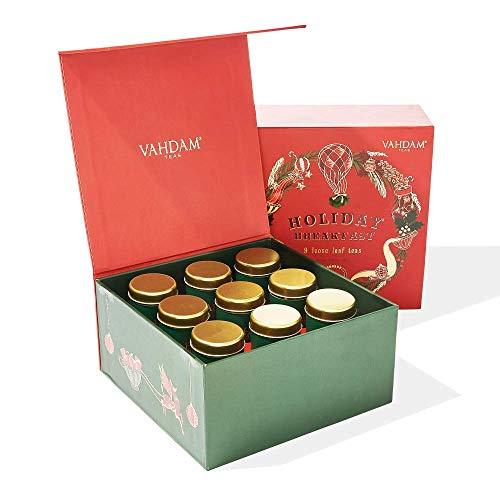 VAHDAM, Tisane in Confezione Regalo Holiday Breakfast - 9 Tè in Scatola Regalo - 100% Ingredienti e...